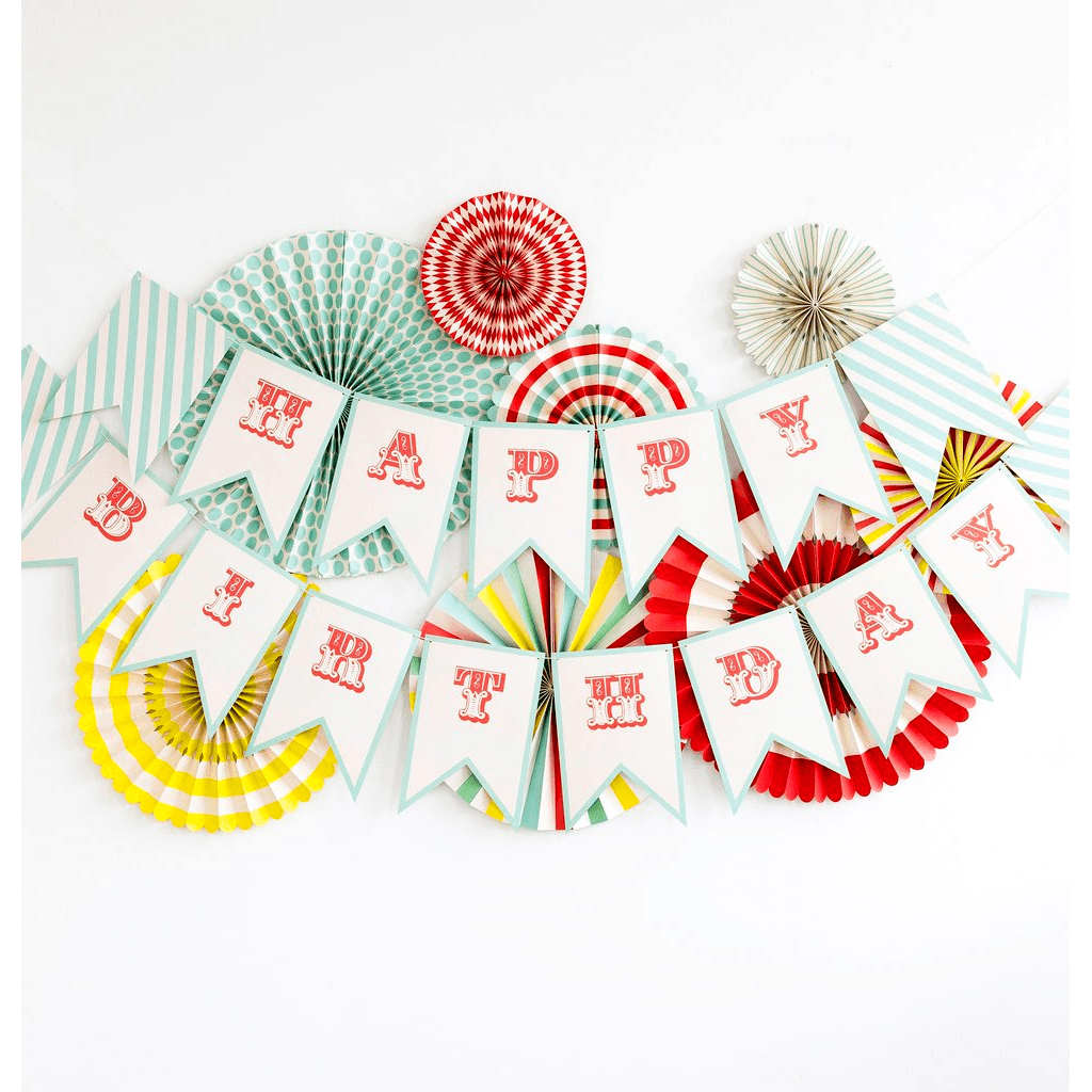 Banderines de Carnaval con Letras de Happy Birthday - 17 pzas.