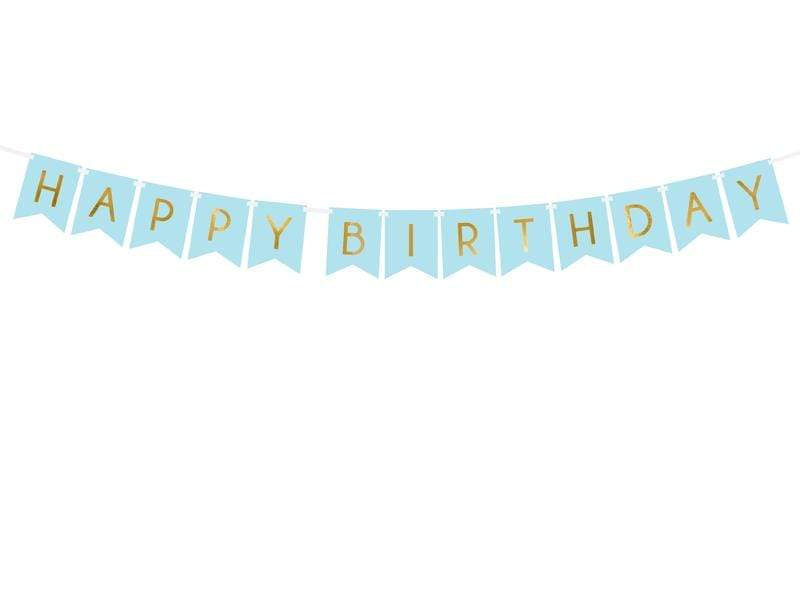 Banner Happy Birthday, light blue, 15 x 175 cm.