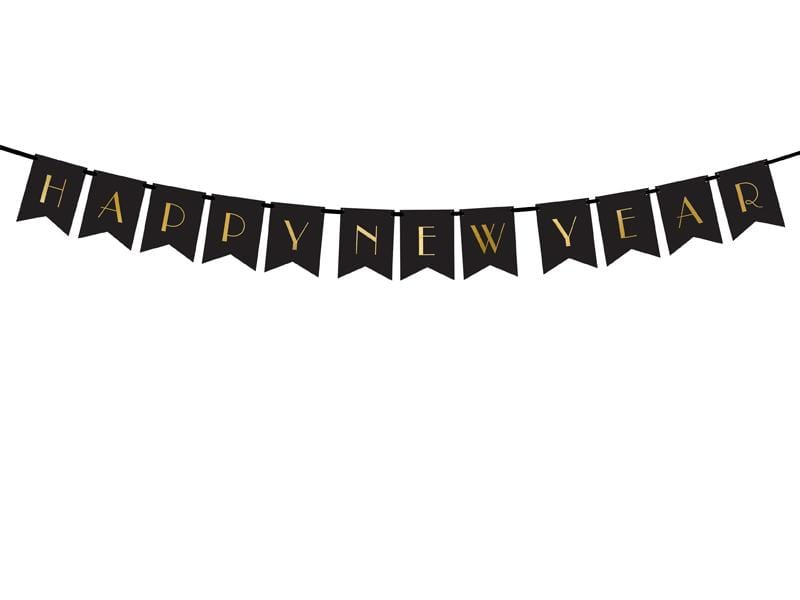 Banner Happy New Year, black, 15 x 170 cm.