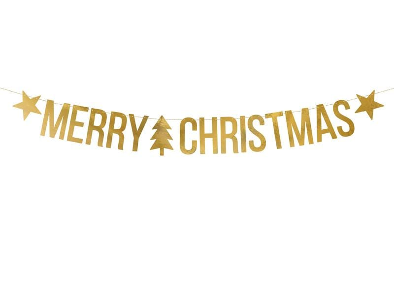 PARTY ART Banners Banner Merry Christmas, gold, 10.5x150cm