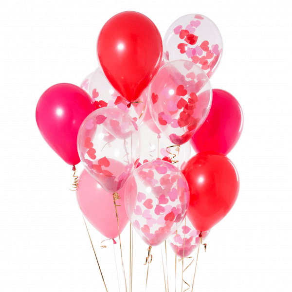 "Globo Latex 11"" Kit Mix Confetti y Lisos Valentine's Day - 14 Pza."