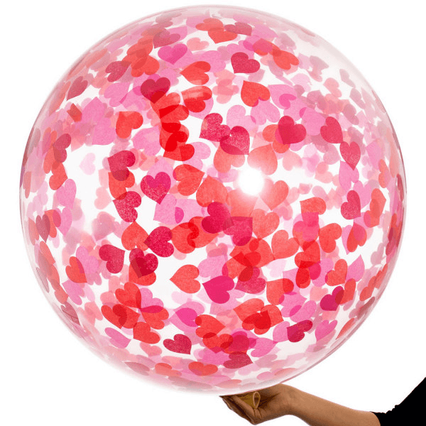 Globo Latex Gigante Decorado con Confetti Corazon Valentine's Day - 1 Pza Globos Party Art