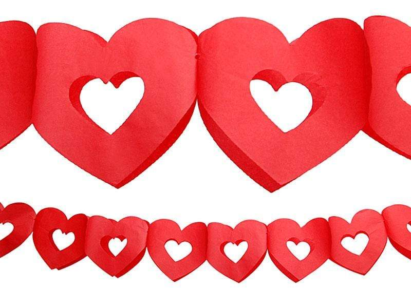 Tissue paper garland Hearts, red, 3m.