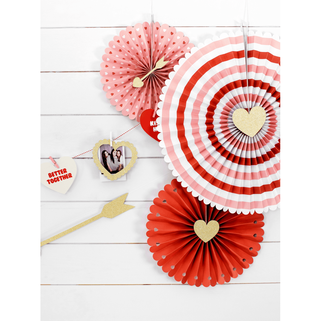 Decorative, Rosettes Sweet, Love, mix, 1pkt/3pc. Abanicos Party Deco