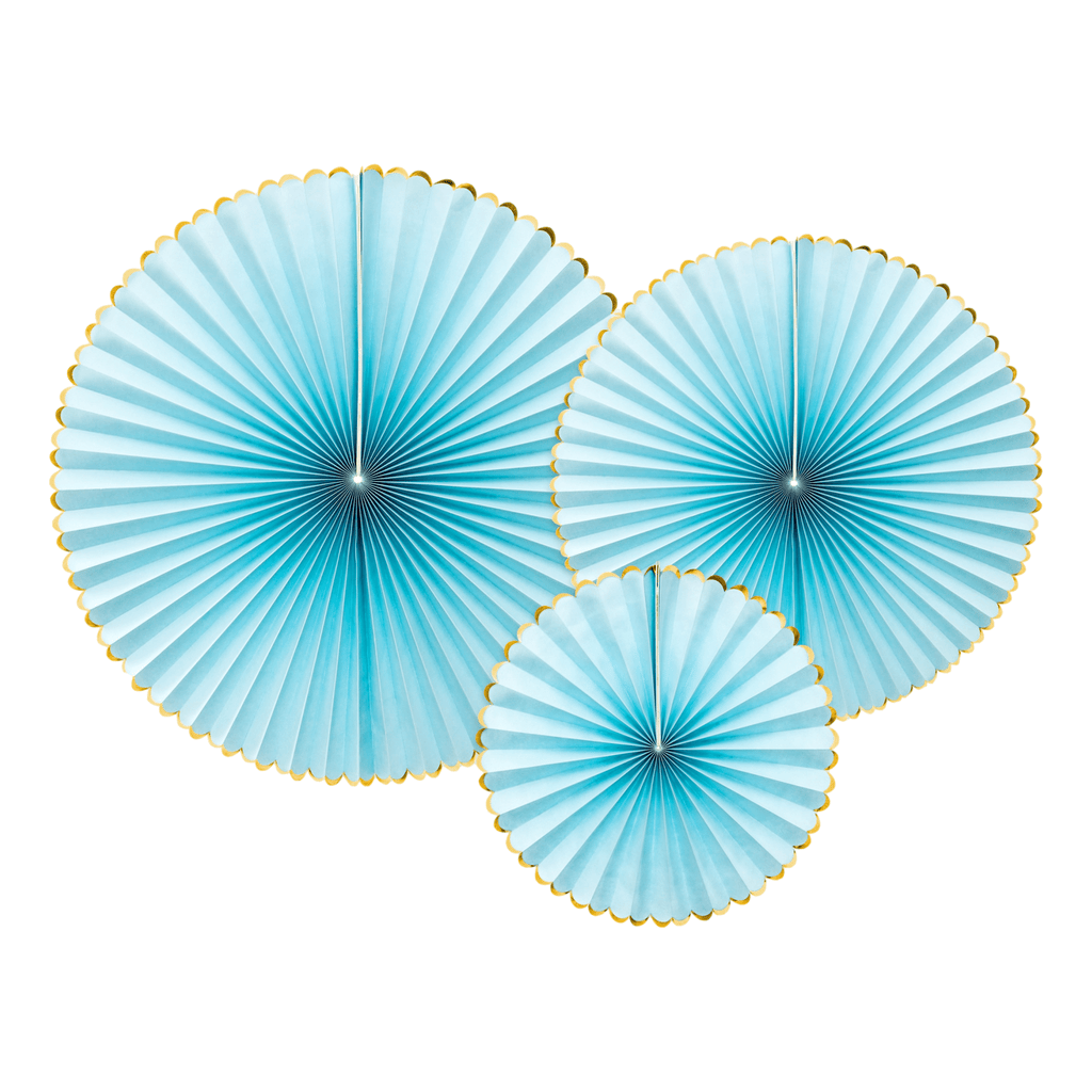 Decorative, Rosettes Yummy, light blue, 1pkt/3pc. Abanicos Party Deco