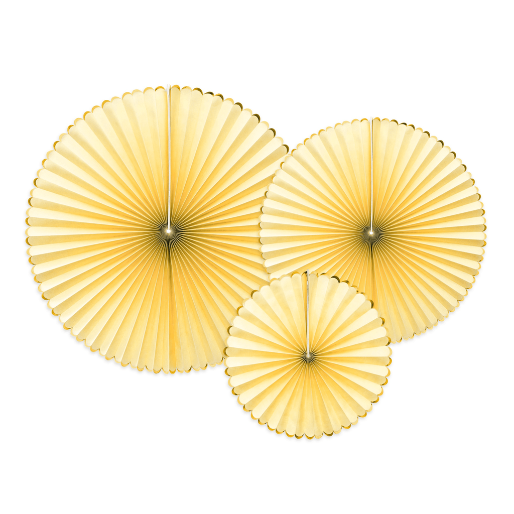 Decorative Rosettes Yummy, light yellow, 1pkt/3pc. Abanicos Party Deco