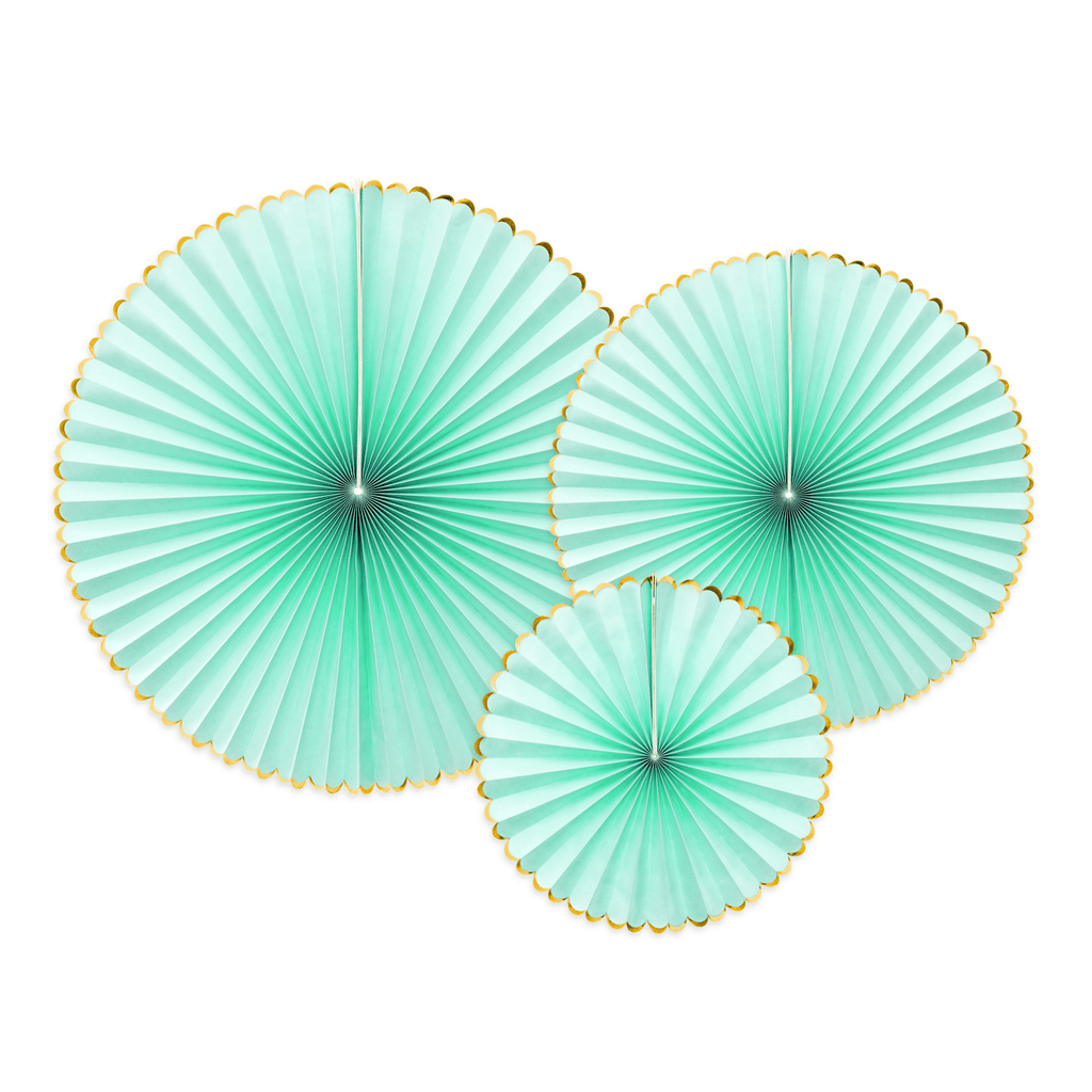 Decorative Rosettes Yummy, mint: 1pkt/3pc. Abanicos Party Deco