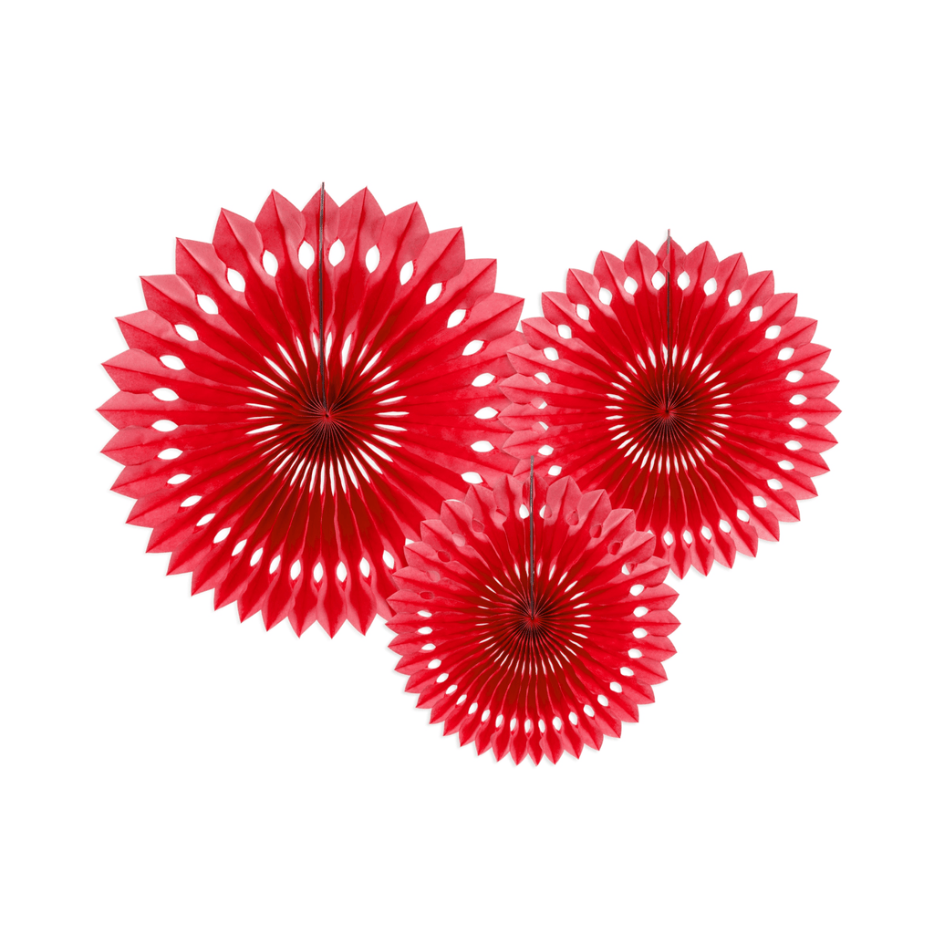 Tissue fan, red, 20- 30cm: 1pkt/3pc. Abanicos Party Deco