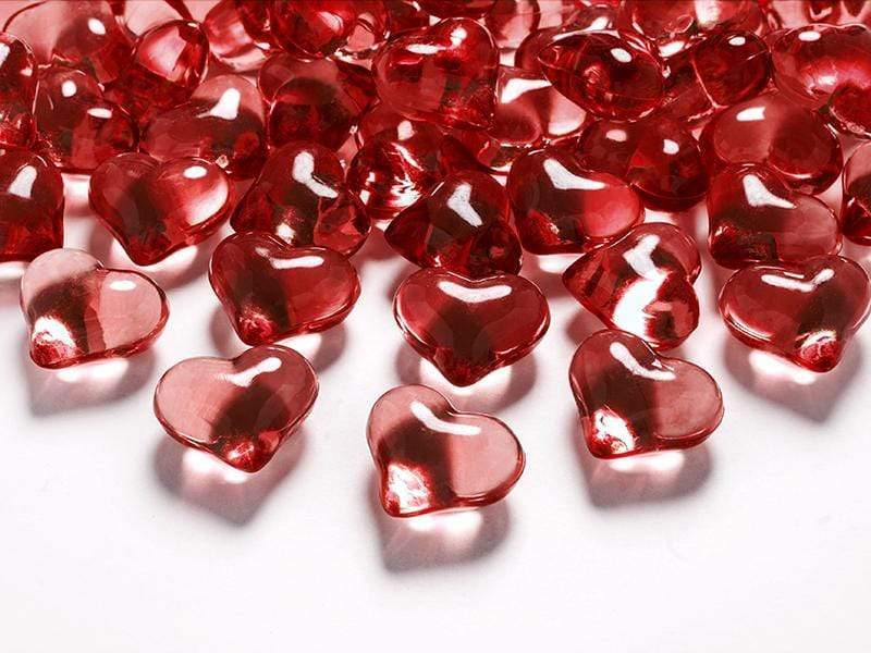 Crystal hearts, red, 21mm (1 pkt / 30 pc.) Accesorios Party Deco