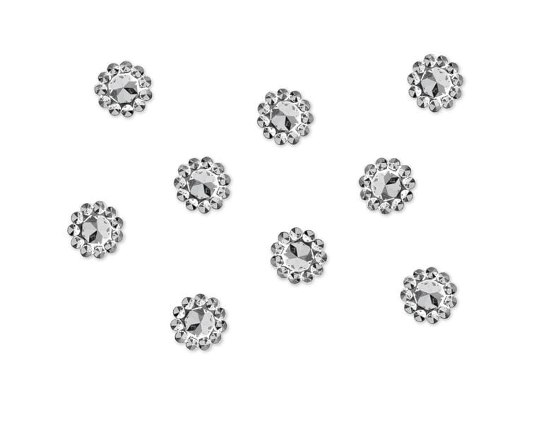 Embellishments Flower, silver, 10mm (1 pkt / 50 pc.) Accesorios Party Deco