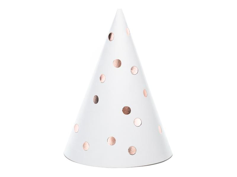 Party hats Dots, white, 16cm (1 pkt / 6 pc.).