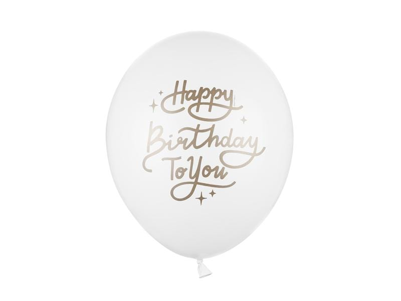 Balloons 30 cm, Happy Birthday To You, Pastel Pure White - 1 pza Globos Party Deco