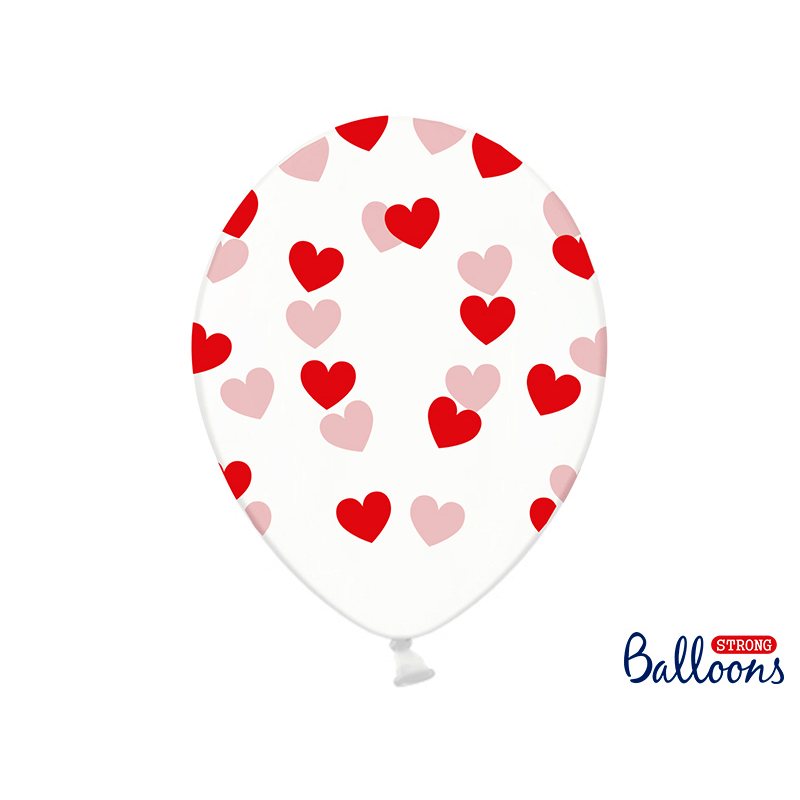 Balloons 30cm, Hearts, Crystal, Clear - 1 pza Globos Party Deco