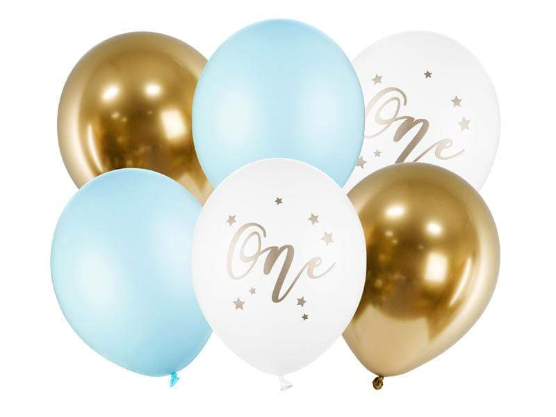Balloons 30cm, One, Pastel Light Blue (1 pkt / 6 pc.) Globos Party Deco