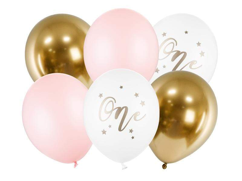 Balloons 30cm, One, Pastel Pale Pink (1 pkt / 6 pc.) Globos Party Deco