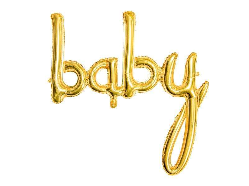 Foil balloon Baby, gold, 73.5x75.5cm Globos Party Deco