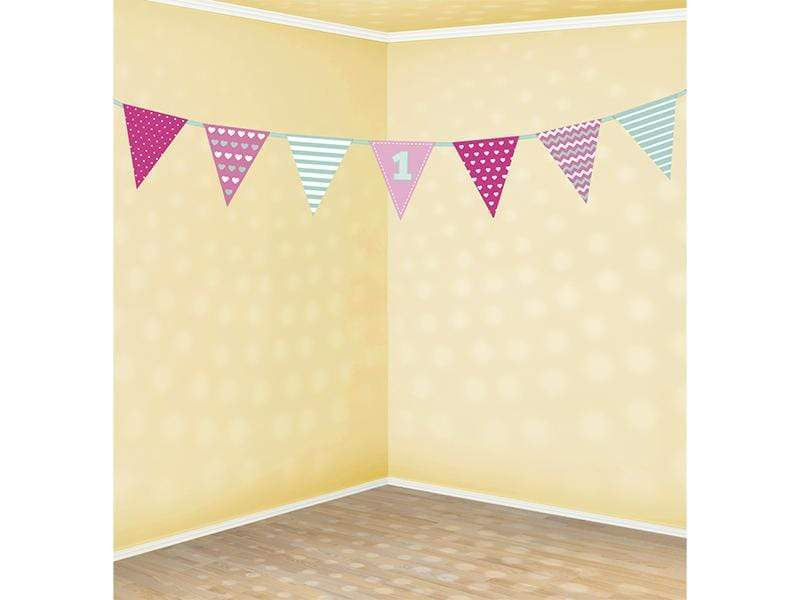 First birthday Paper Garland, pink and mint, 1.35m Guirnalda Party Deco