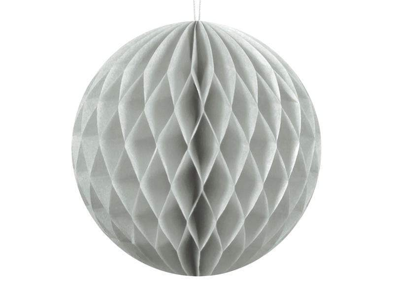 Party Deco Nido de Abeja Honeycomb Ball, light grey, 10cm