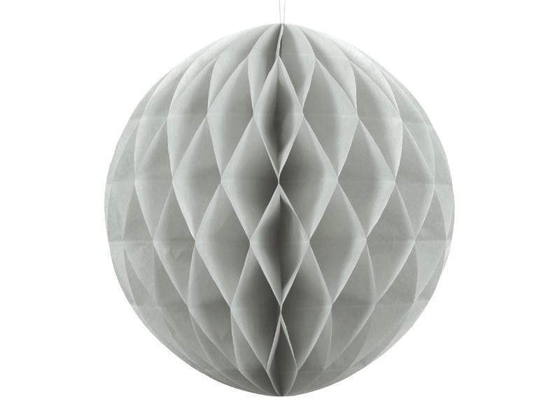 Party Deco Nido de Abeja Honeycomb Ball, light grey, 30cm