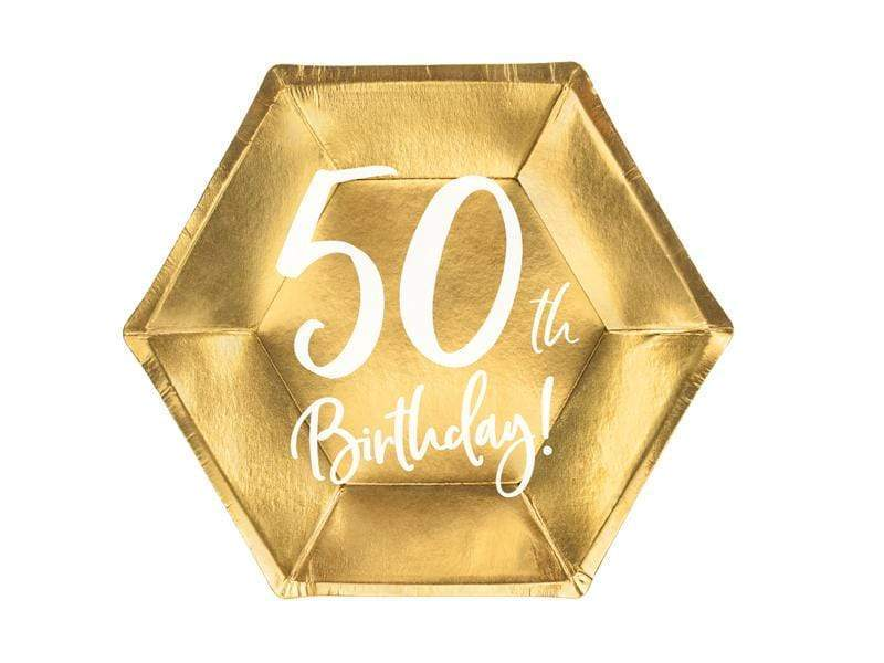 Party Deco Platos Plates 50th Birthday, gold, 20cm (1 pkt / 6 pc.)