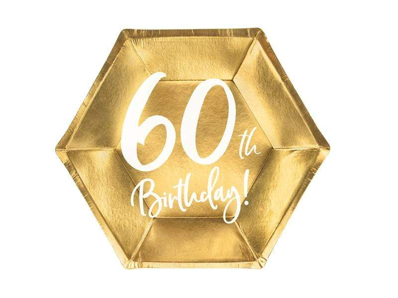 Plates 60th Birthday, gold, 20cm (1 pkt / 6 pc.) Platos Party Deco