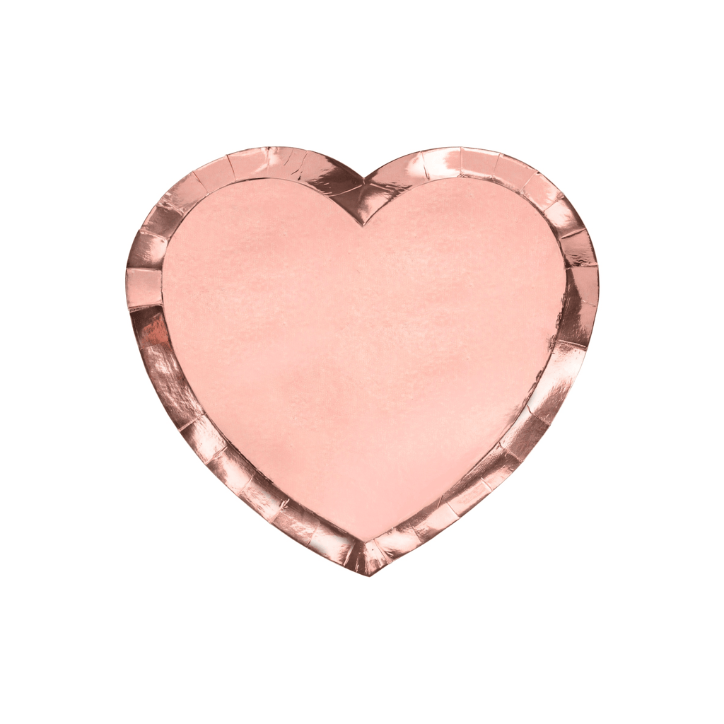 Plates Heart, rose, gold, 21x19cm:, 1pkt/6pc. Platos Party Deco