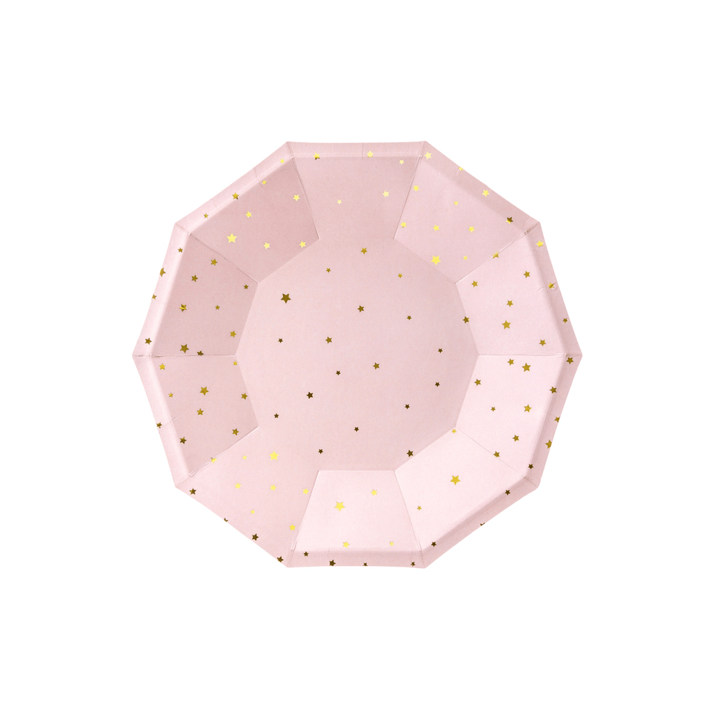 Plates Stars, light, pink, 18cm: 1pkt/6pc..