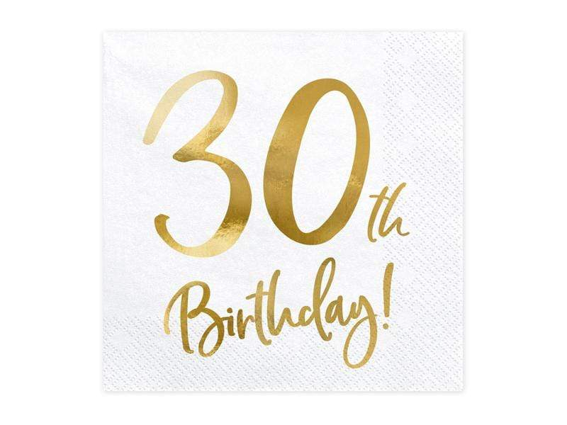 Party Deco Servilletas Napkins 30th Birthday, white, 33x33cm (1 pkt / 20 pc.)