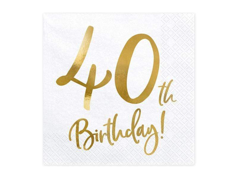 Party Deco Servilletas Napkins 40th Birthday, white, 33x33cm (1 pkt / 20 pc.)