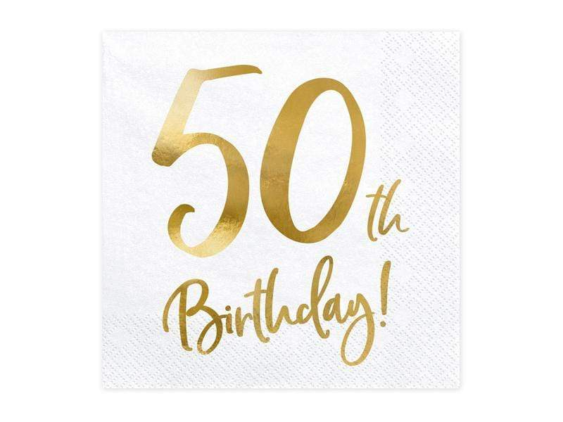 Party Deco Servilletas Napkins 50th Birthday, white, 33x33cm (1 pkt / 20 pc.)