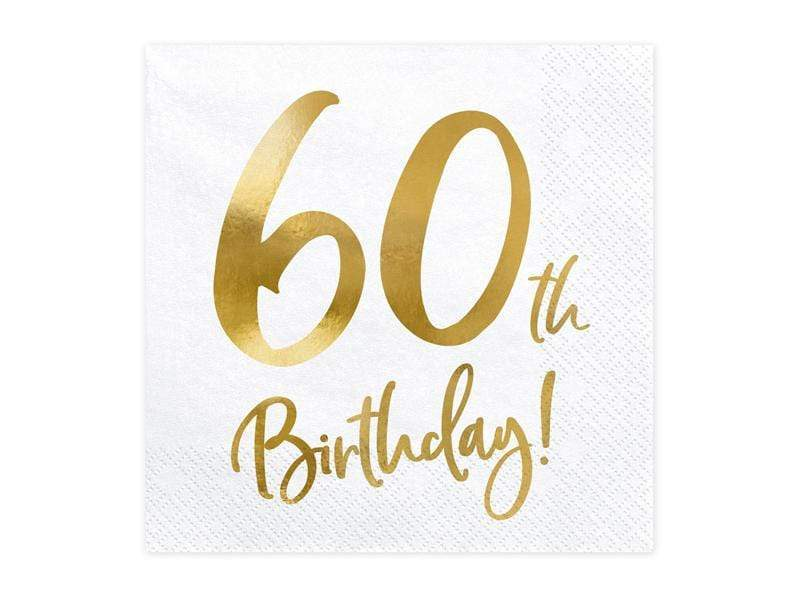 Party Deco Servilletas Napkins 60th Birthday, white, 33x33cm (1 pkt / 20 pc.)