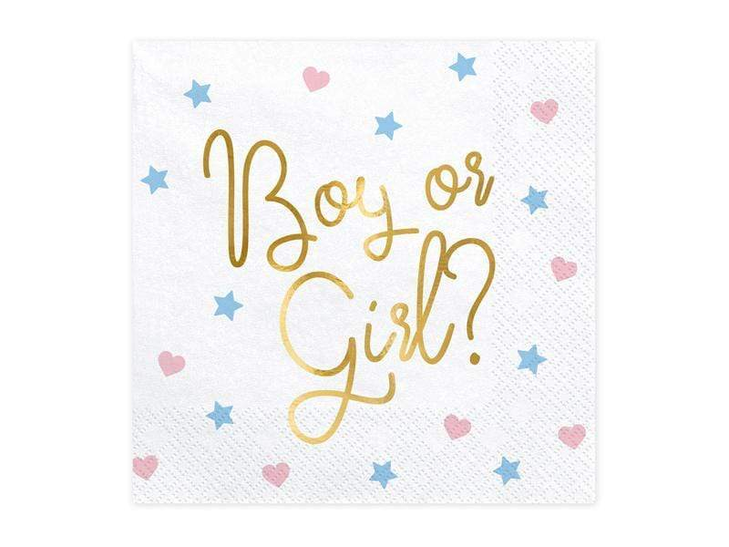 Party Deco Servilletas Napkins - Boy or Girl, 33x33 cm. (1 pkt / 20 pc.)