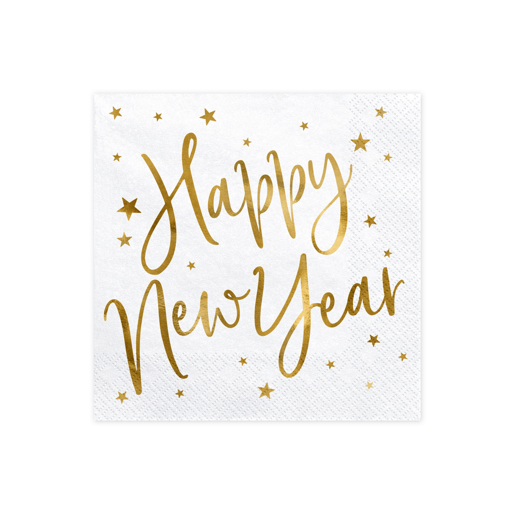 Napkins Happy New Year, white, 33x33cm 1pkt/20pc..