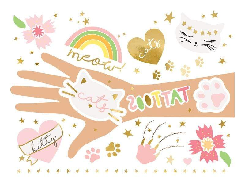 Party Deco Stickers y Tatuajes Temporary tattoos Cats, mix (1 pkt / 12 pc.)