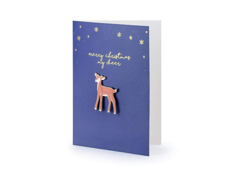 Party Deco Tarjetas Card with enamel pin Deer, 10.5x14.8cm