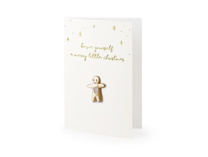 Party Deco Tarjetas Card with enamel pin Gingerbread Man, 10.5x14.8cm