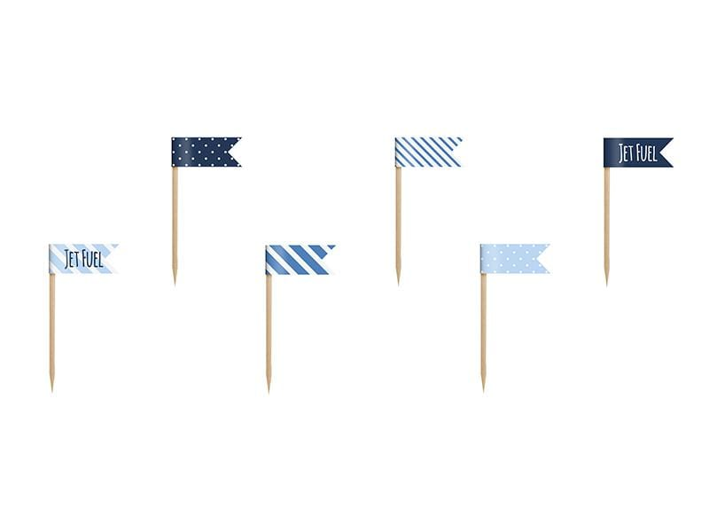 Cupcake Toppers Mini Flags Little Plane, mix, 7cm (1 pkt / 6 pc.) Toppers Party Deco