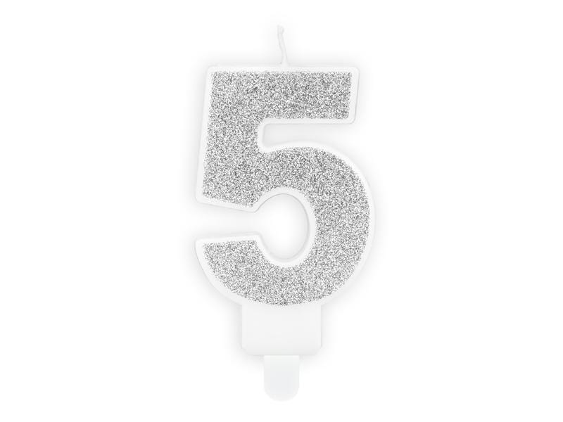 Party Deco Velas Birthday candle Number 5, silver, 7cm