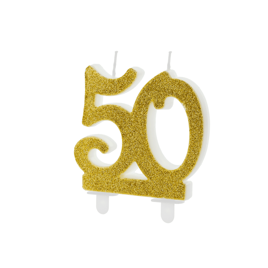 Birthday candle Number 50, gold, 7.5cm Velas Party Deco