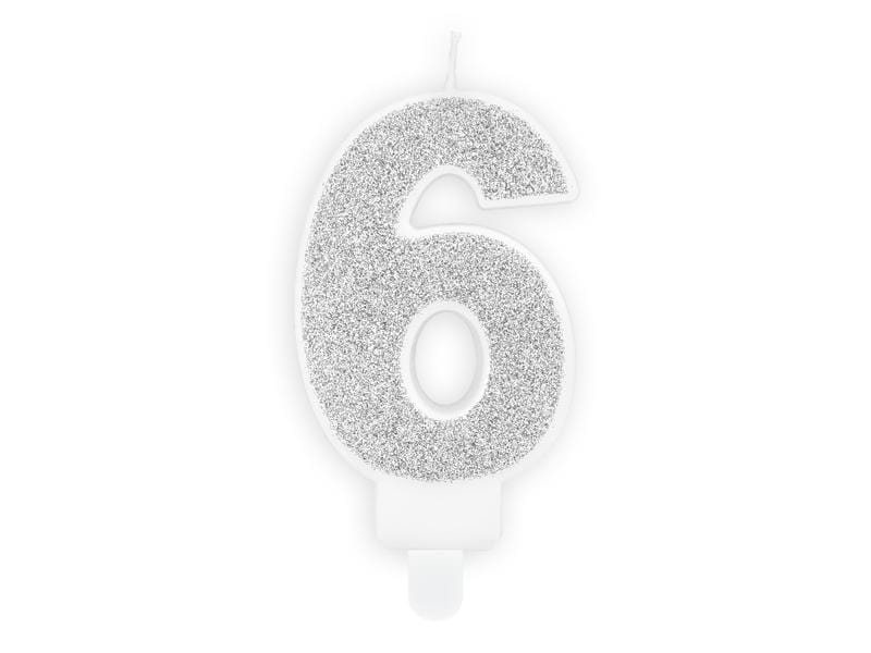 Birthday candle Number 6, silver, 7cm Velas Party Deco