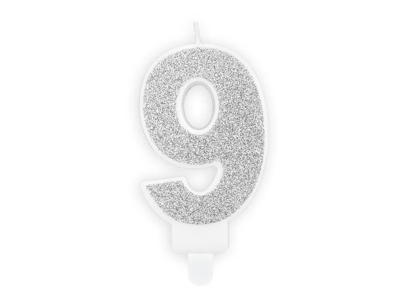 Birthday candle Number 9, silver, 7cm Velas Party Deco