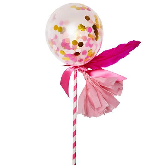 Globo Decorado Fancy Pop Rosa Brillante - 1 Pza Globos Poppies for Grace