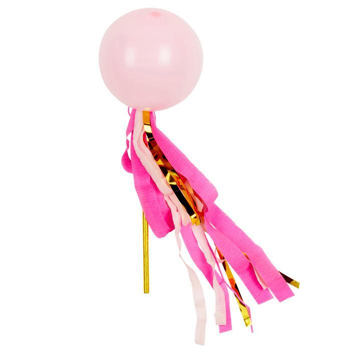 Globo Decorado Rosa Brillante Streamer Pop - 1 Pza.