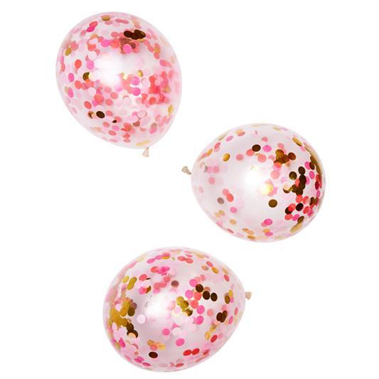 "Globo Latex 11"" Decorado con Confetti Rosa Brillante - 3 Pzas Globos Poppies for Grace"