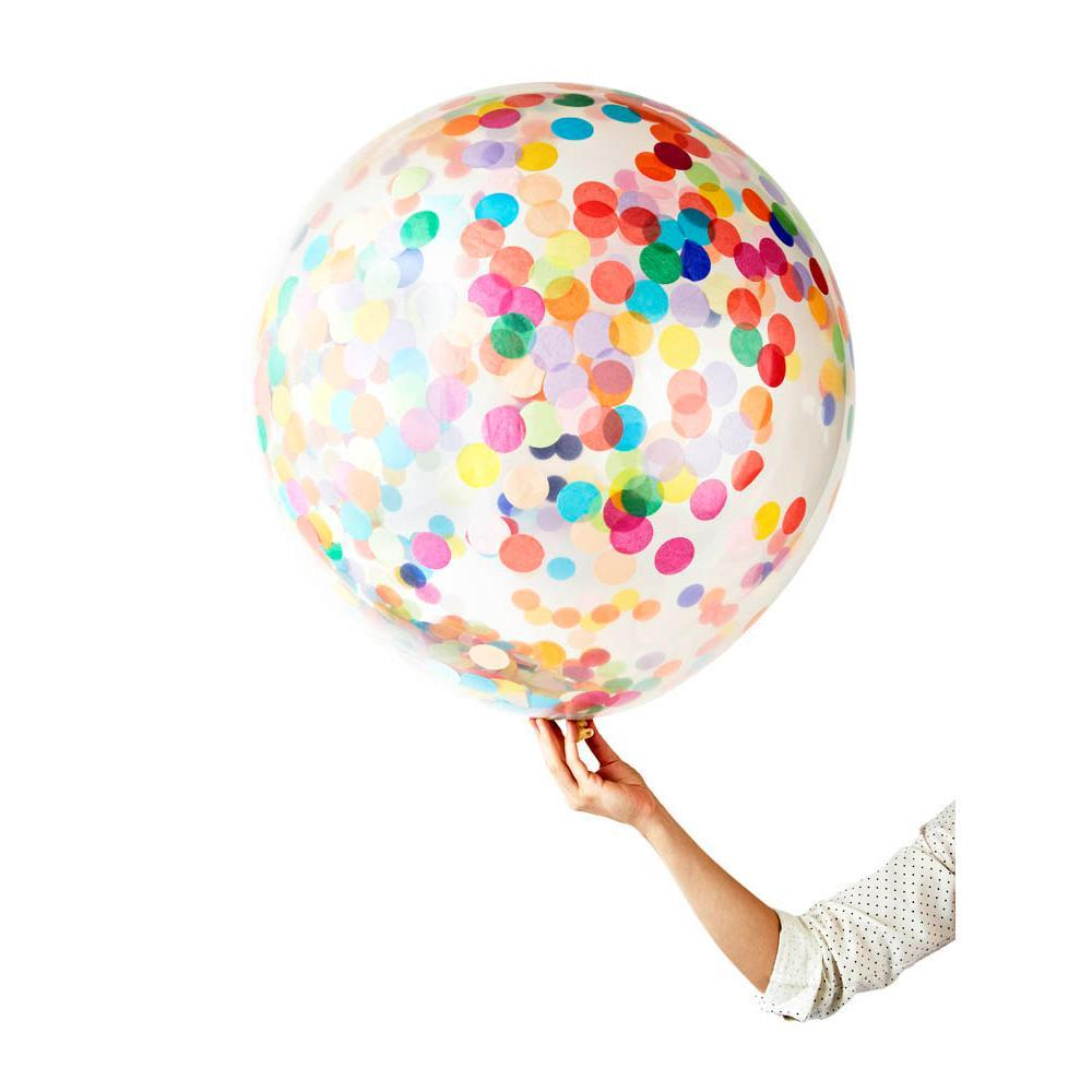 Globo Latex Gigante Decorado con Confetti Happy 3' - 1 Pza Globos Poppies for Grace
