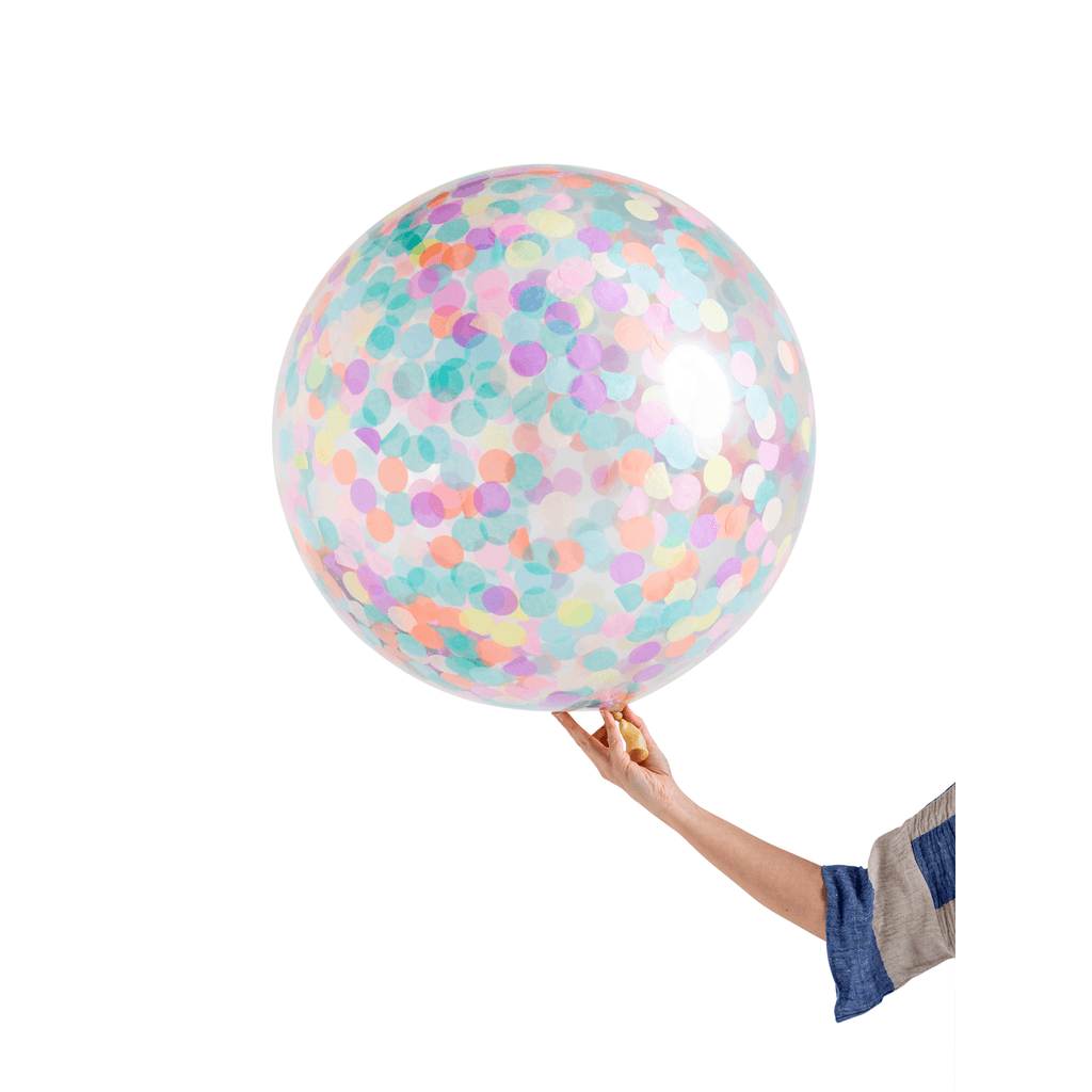Globo Latex Gigante Decorado con Confetti Pastel 3' - 1 Pza Globos Poppies for Grace