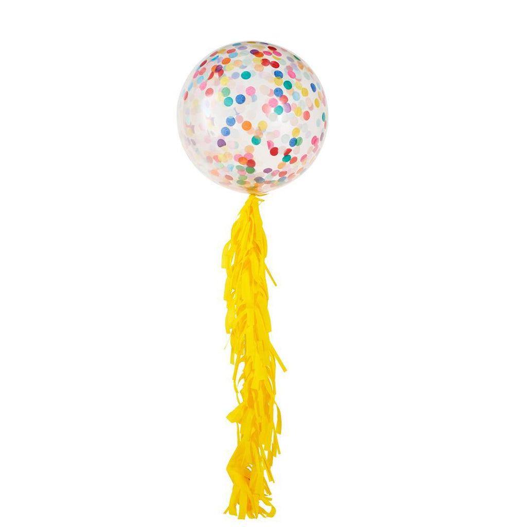 Globo Latex Gigante Decorado con Confetti y Guirnalda Happy 3'- 1 Pza.