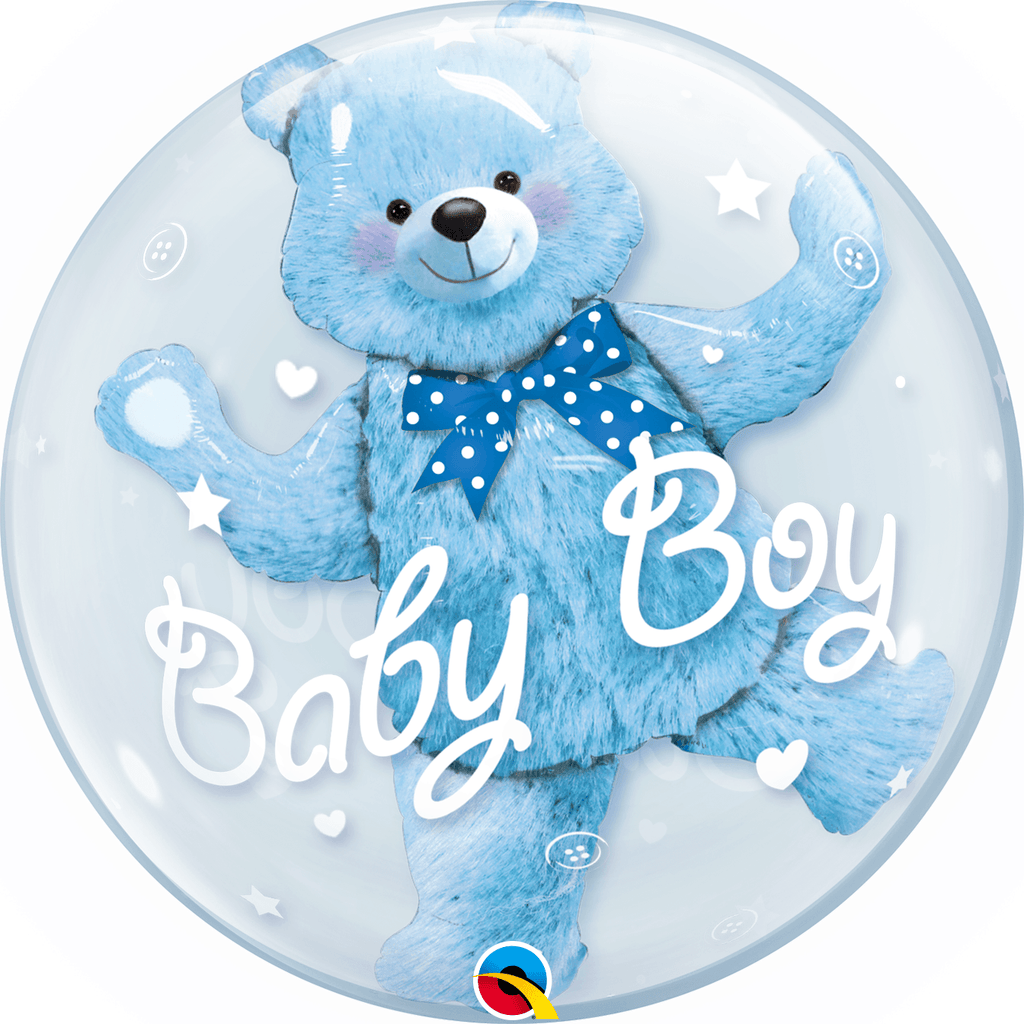 "Burbuja Doble Baby Boy Oso Azul 24"" - 1 pza Globos Qualatex"