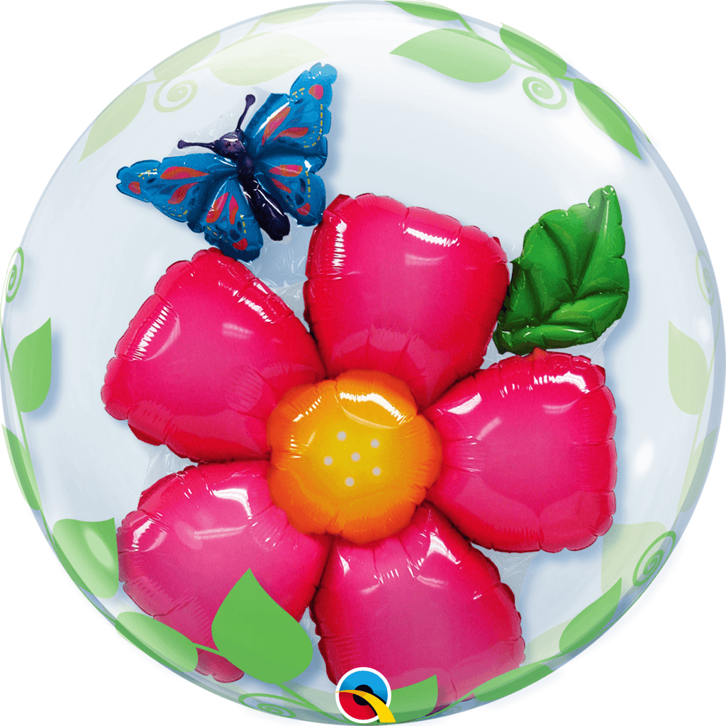 "Burbuja Doble Flores 24"" - 1 pza Globos Qualatex"