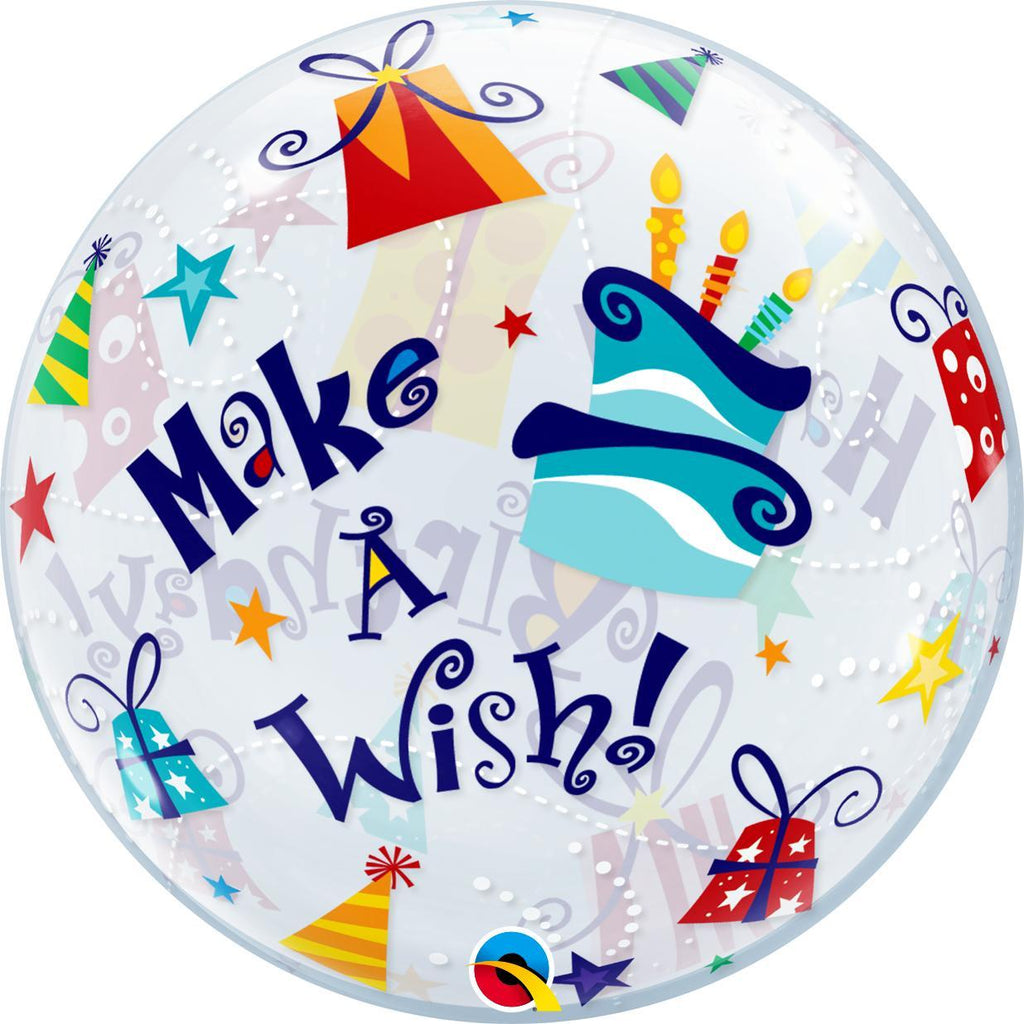 Burbuja Sencilla Happy Birthday Make a Wish - 1 pza Globos Qualatex